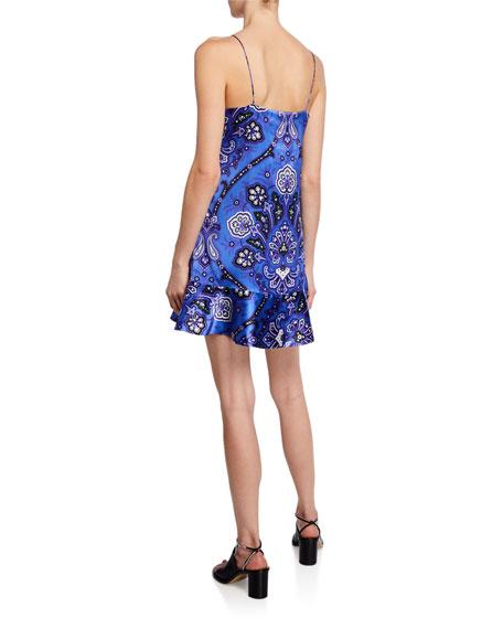 Tina Paisley Printed Flounce Slip Dress