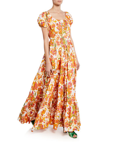 b5eadc9c13 Bardot Printed Scoop-Neck Short-Sleeve Maxi Dress