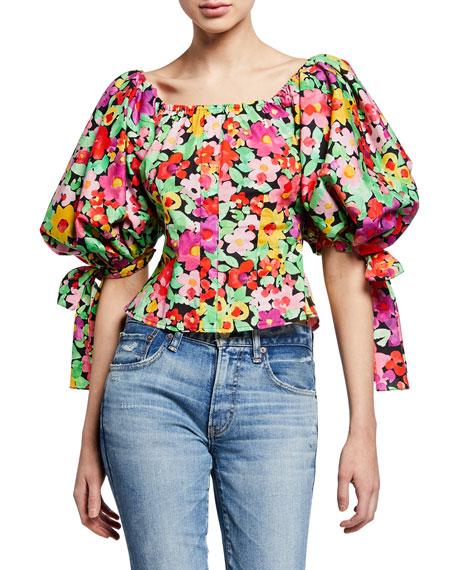Caroline Constas Nella Floral-Print Puff-Sleeve Top