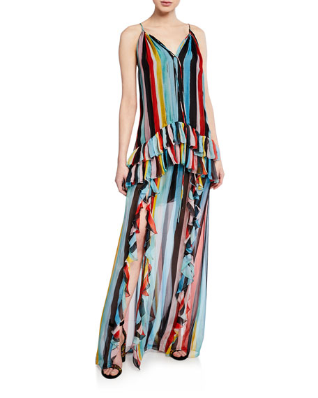 Caroline Constas Dresses ISLA WATERCOLOR STRIPE RUFFLE HALTER MAXI DRESS