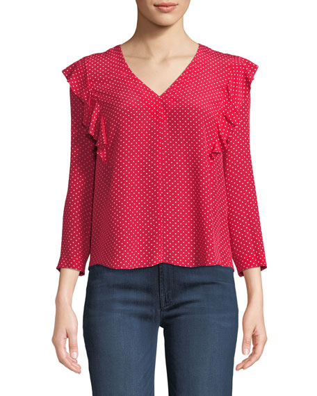 Dot-Print V-Neck Ruffle Top