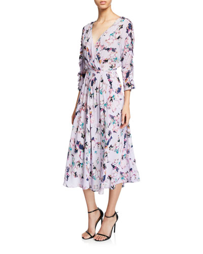 Liky Ruffle Floral-Print 3/4-Sleeve Midi Dress