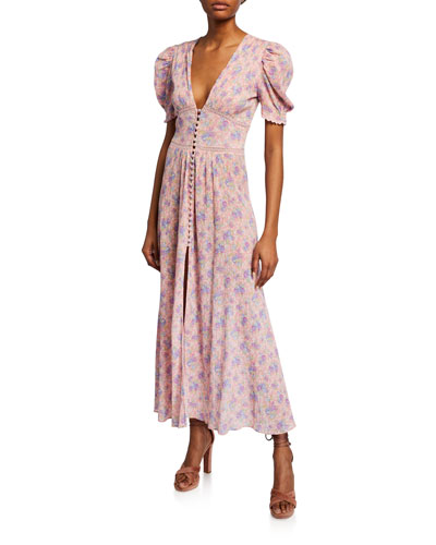 Stacy Floral Short-Sleeve Duster Dress