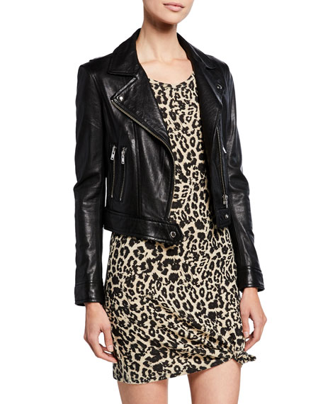 Bapey Cropped Leather Moto Jacket