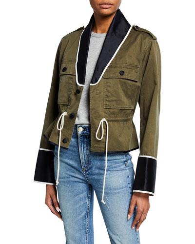 Shawl-Collar Cropped Peplum Utility Jacket