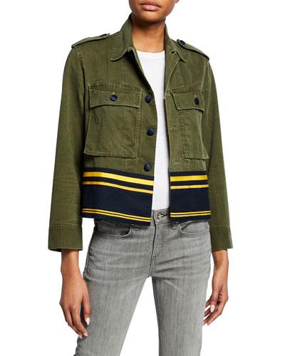 Cropped Shirt Jacket w/ Border Stripes