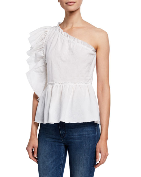 Iro Tops PLUM ONE-SHOULDER RUFFLE TOP
