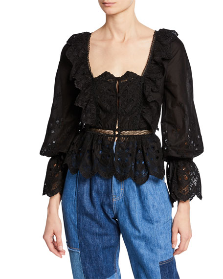 Floral Embroidered Button-Front Top