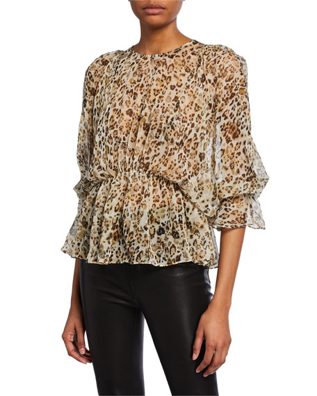 Iro Tops SAGGI ANIMAL-PRINT SILK BLOUSE