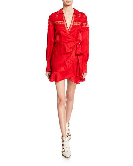 Viscose Jacquard Trimmed Wrap Dress