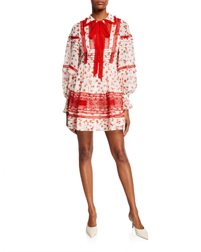 Floral-Print Trimmed Chiffon Short Dress