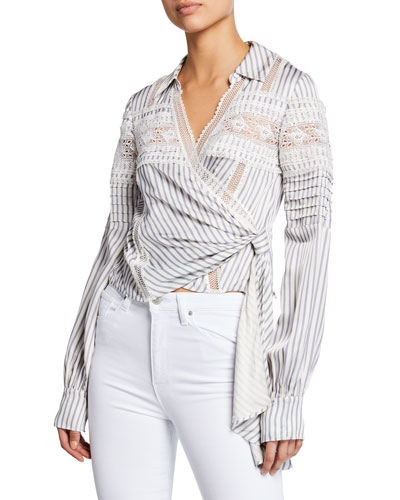 Striped Long-Sleeve Wrap Top w/ Lace