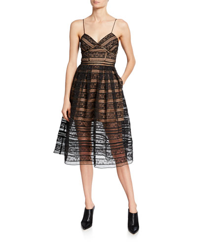 Paneled Floral Lace Sleeveless Midi Dress