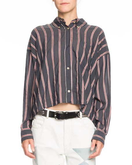 Etoile Isabel Marant Ycao Long-Sleeve Cropped Button-Front Blouse