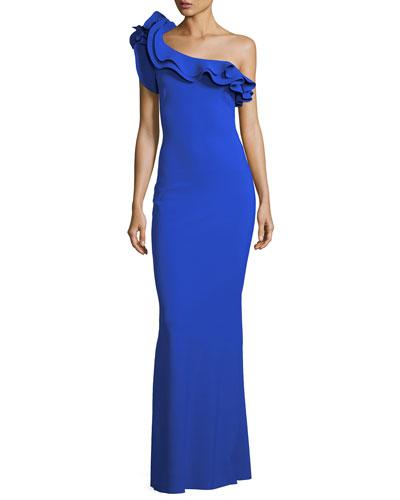 Elisir One-Shoulder Ruffle Gown