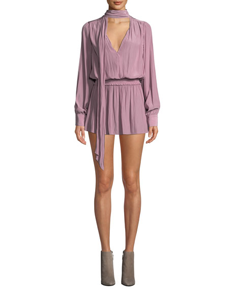 Winslow Tie-Neck Long-Sleeve Short Dress