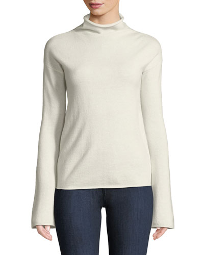 Bell-Sleeve Mock-Neck Cashmere Sweater