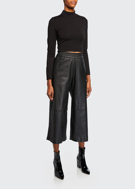 Stretch Leather Culottes