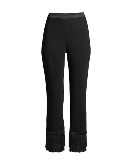 Tash Crepe Straight-Leg Fringe Pants