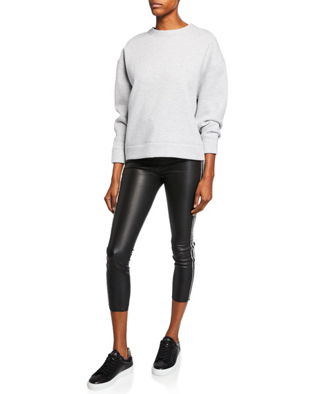 Rhinestone-Striped Athletic Leather Capri Leggings
