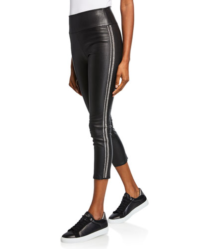 Rhinestone-Striped Athletic Leather Capri Leggings