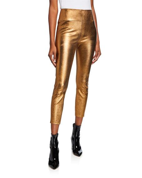 High-Rise Metallic 3/4 Leggings