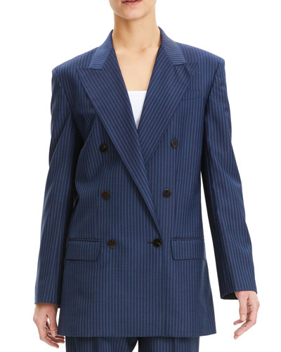 Striped Double-Breasted Wool Blazer