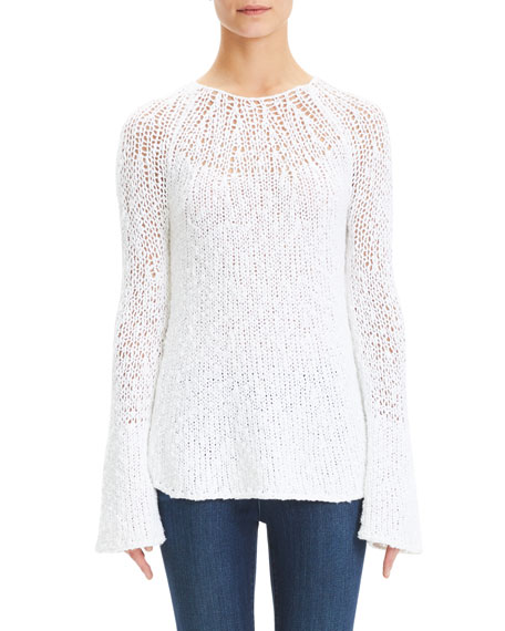 Boat-Neck Knit Flare-Sleeve Pullover Sweater