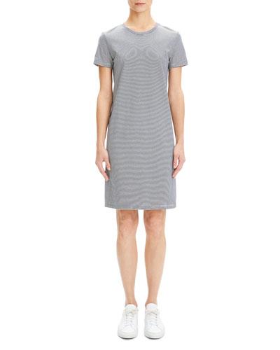 Continuous Stripe Crewneck Short-Sleeve Knit Dress