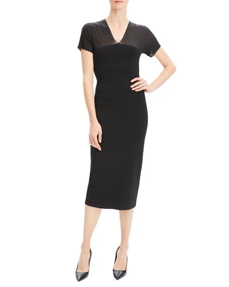 3428054534f1 Theory Short-Sleeve V-Neck Kimono Midi Dress In Black