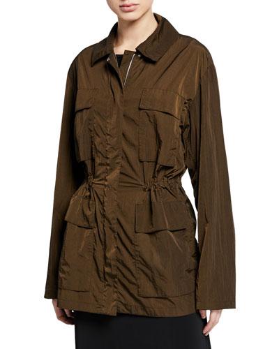 Zip-Front Nylon Travel Anorak Jacket