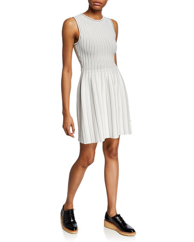 Striped Sleeveless Fit-and-Flare Shell Dress