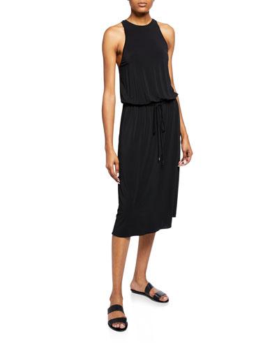 High-Neck Sleeveless Midi Dress