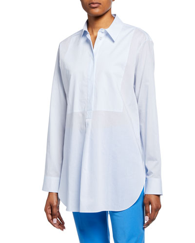 Button-Front Long-Sleeve Cotton Tunic