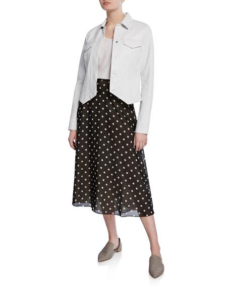Volume Polka-Dot Midi Silk Skirt