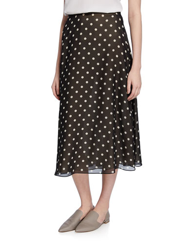 Volume Polka-Dot Midi Silk Skirt