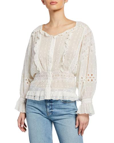 Diamond Embroidery Dolman-Sleeve Cotton Top