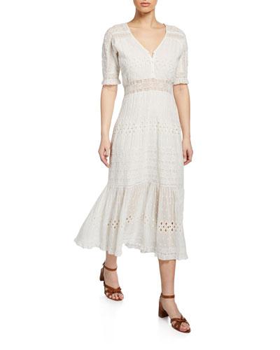 Diamond Embroidered Midi Dress