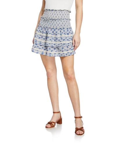 Antoinette Smocked Floral Lace Mini Skirt