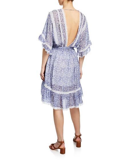 Dream Floral Drawstring-Waist Silk Dress