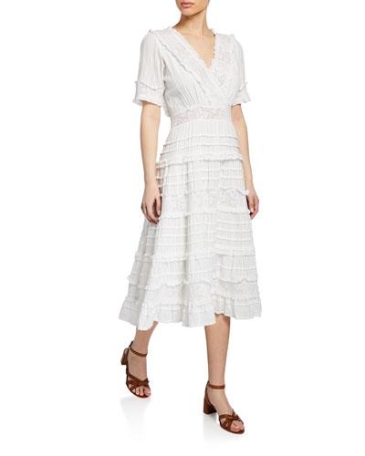 Babette Tiered Short-Sleeve Midi Dress