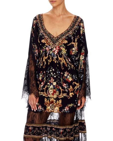 Floral Silk Lace Panel Long Dress