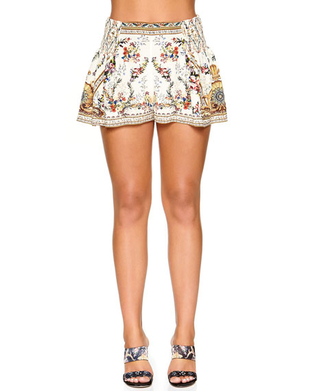 Camilla Shorts EMBELLISHED FLORAL-PRINT SHORTS W/ SIDE FLOUNCE