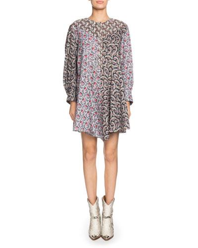 Lissande Crewneck Long-Sleeve Mixed-Print Mini Dress