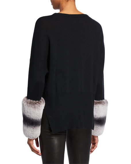 Wool-Cashmere Sweater with Rabbit Fur Cuffs