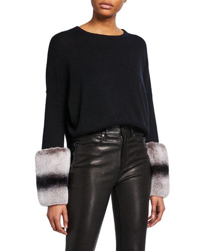 Wool-Cashmere Sweater with Rabbit Fur Cuffs