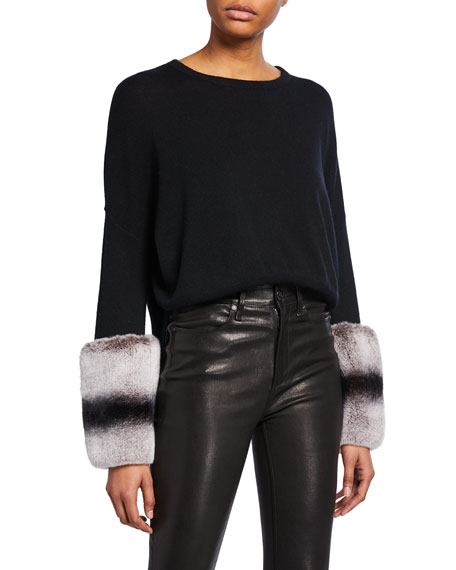 IZAAK AZANEI Wool-Cashmere Sweater with Rabbit Fur Cuffs