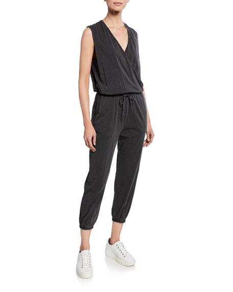 Sleeveless Stretch-Cotton Wrap Jumpsuit