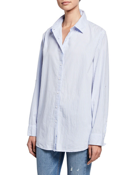 Striped Button-Down Oversized Cotton Shirt