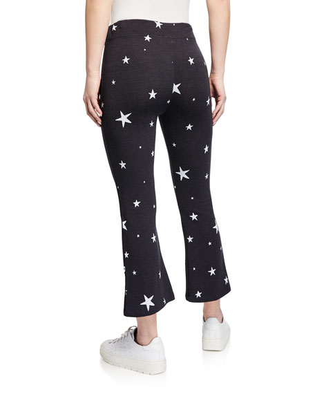 Kick Star-Print Cropped Drawstring Flare Pants